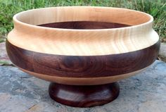 Large walnut, cherry, and maple pedestal bowl by knottybowl.com Wood Turning Lathe, Wood Turning Projects, Wood Projects, Wood Lathe Chuck, Pipe Shelves, Wood Bowls, Logs, Wood Table, Altar