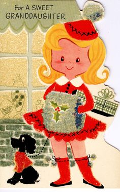 #midcentury #Christmas #greetingcard #girl #poodle #RustCraft