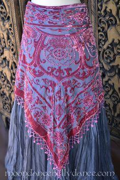 Moondance belly dance velvet hip scarf beaded rose