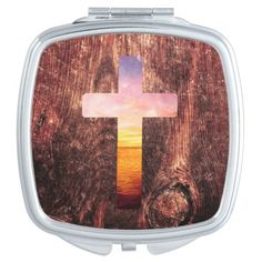 Sunset wood cross  #mirror #wood #cross  #zazzle