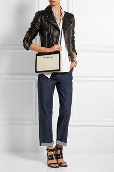 BalenciagaLeather Trimmed Cotton Canvas Shoulder Bag $695