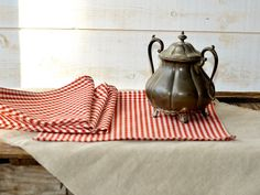 RED Gingham Table Napkins set of 4 / Rustic picnic french country