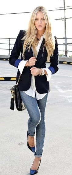 Casual Friday idea  - Top off skinny jeans with a classic jacket and oversize cuffs #casualfriday #women #outfit