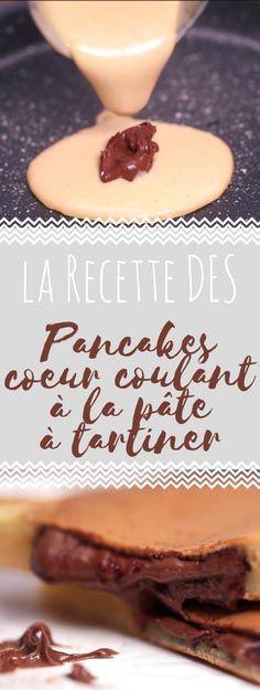 Découvrez la recette des pancakes coeur coulant à la pâte à tartiner Pancakes Nutella, Cheat Meal, Yummy Treats, Cravings, Good Food, Brunch, Food And Drink, Healthy Recipes, Beignets