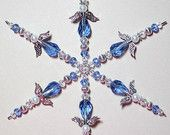 Beaded Snowflake Ornament ~ Christmas Ornament ~ Sapphire Blue & Silver Guardian Angel Snowflake Ornament ~ Crystal Ornament ~ Suncatcher