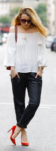 Pardon My Obsession White Off Shoulder Top Black Leather Panst Red Pumps
