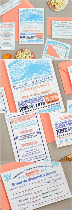 Fun Carnival Wedding Invitation in coral and turquoise by B.designs Paper. Ferris Wheel Wedding Invitation. Circus Wedding Invitation