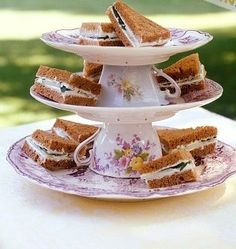 tea party idea--like the saucer and plate tiered sandwich stand