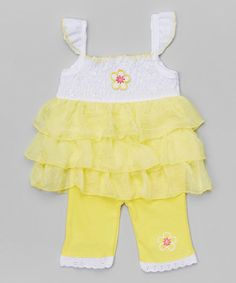 Yellow Ruffle-Sleeve Tunic & Leggings - Infant & Toddler | zulily