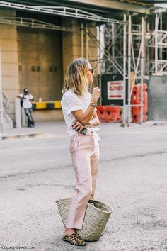 Summer: thin white shirt, washed silk pants, straw bag