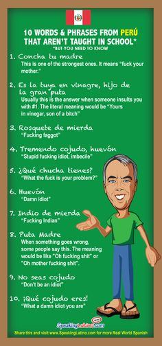 Ten of the most common Peruvian dirty Spanish slang words and phrases that include dirty, nasty and insulting language.
