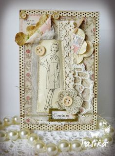 Sewing Theme Card in Ivory Colors Atc Cards, Card Tags, Paper Cards, Handmade Tags, Greeting Cards Handmade, Scrapbooking, Scrapbook Cards, Card Creator, Sewing Cards