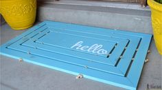 Brighten up your doorway with a cheery hello wooden door mat. See tons of wood door mat inspiration thanks to @hertoolbelt. http://www.rustoleum.com/product-catalog/consumer-brands/varathane/varathane-fast-dry-wood-stain/
