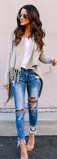 #winter #outfits gray fringe blazer and blue-washed distressed jeans