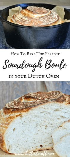 How To Bake The Perfect Sourdough Boule In Your Dutch Oven Learn how to bake a soft and chewy, traditionally fermented Artisan Sourdough Boule at home. This easy recipe and instructive video will take your bread to a whole new level! Dutch Oven Bread, Dutch Oven Cooking, Dutch Oven Recipes, Cooking Recipes, Dutch Oven Sourdough Bread Recipe, Recipe Breadmaker, Dutch Ovens, Chef Recipes