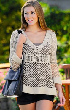 Crochet blouse with empire waist line