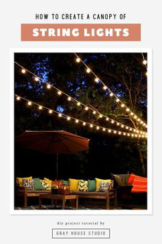 A DIY tutorial showing how to hang a canopy of string lights in your backyard to create a dreamy backyard. Backyard String Lights, Backyard Lighting, Outdoor Projects, Diy Projects, Landscape Lighting Design, Canopy Lights, Grey Houses, Outdoor Landscaping, Home Repair