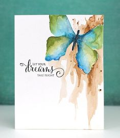 painting greeting cards in watercolor Handmade Greetings, Greeting Cards Handmade, Simon Says Stamp Blog, Karten Diy, Watercolor Cards, Watercolour Butterfly, Butterfly Stencil, Watercolor Images, Calligraphy Watercolor
