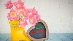 Dzień kobiet, Kalosz, Bukiet, Tulipany, Serce, Napis, Happy Womens Day