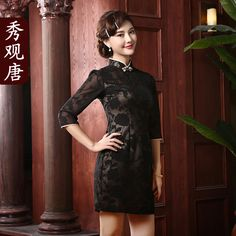 Wondrous Black Chiffon Short Cheongsam Qipao Dress - Qipao - Cheongsam - Women