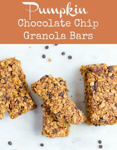 These soft and chewy Pumpkin Chocolate Chip Granola Bars are so delicious and easy to make! A great afternoon snack, breakfast, or lunchbox treat. Chocolate Chip Granola Bars, Pumpkin Chocolate Chips, Easy Gluten Free Desserts, Easy Desserts, Fall Dessert Recipes, Light Desserts, Sweets Recipes, Vegan Desserts, Brunch Recipes