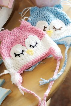 precious....crocheted owl hats