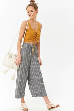 Product Name:Linen-Blend Pinstriped Culottes, Category:bottom_trousers, Crochet Summer Tops, Crochet Halter Tops, Crochet Crop Top, Crochet Blouse, Crochet Bikini, Crochet Lace, Culottes Outfit, Capri Outfits, Crochet Fashion