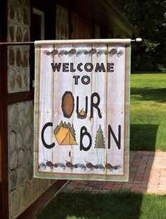 LARGE CABIN WELCOME FLAG Garden Flag