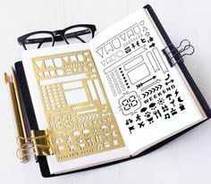 Brushed brass metal stencil for your planner or journaling. Material: ------- 0.3mm Brass Size:---------------4 x 7 Fits: Erin Condren Life Planner Midori Regular Travelers Notebook A5 Organizer/Notebook INTERNATIONAL SHIPPING FEE: US$2.50 for the first item and US$1.00 for each additional item (Airmail without tracking) Shipping Upgrade: Additional US$2.00 for Airmail WITH Tracking. Delivery time: Approx. 7 -21 days