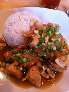 I swear to God, you have not lived until you've eaten Springfield Cashew Chicken.  It's the sauce that really makes it, and it's normally made with oyster sauce but there is a vegetarian version too! Yummmm