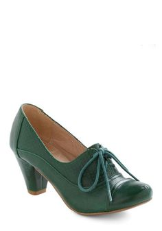 Right Here Heel in Green - Leather, Faux Leather, Low, Green, Vintage Inspired, 20s, 30s, Lace Up, Tis the Season Sale