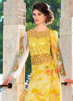 Product Code 38925 - Embroidered Georgette Brilliant Yellow Designer