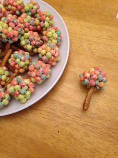 Cereal Trees Preschool Snack Make like rice crispy treats, roll into balls and insert pretzel.