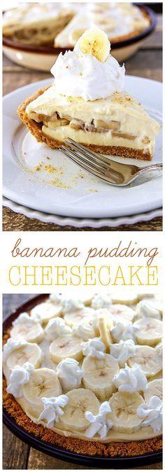 Creamy and delicious Banana Pudding Cheesecake – The mixture of the homemade vanilla pudding, graham cracker crust, and fresh cut bananas is AMAZING! Dessert Simple, Banana Pudding Cheesecake, Cheesecake Recipes, Pie Recipes, Recipies, Easy Desserts, Dessert Recipes, Pie Dessert, Pudding Recipes