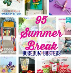 I know summer time can be stressful for some folks…trying to keep your kids entertained, educated, and inspired! So today, in honor of the upcoming summer break, I'm rounding up 95 Summer Break Ideas and Boredom Busters from bloggers all over! This will give you craft, recipe, DIY's and more to do with your kiddos! …