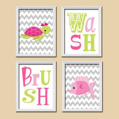 Nautical Wash Brush Girl Ocean Sea Pink Green Fish Turtle Cute Set of 4 Prints Wall Decor Art Child Bathroom Decor