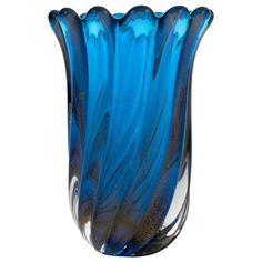 "Murano Cobalt Blue ""Polvera D'oro"" Glass Vase 