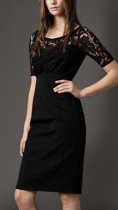 Burberry London Jersey Skirt Lace Dress