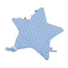 Schnuffeltuch Stern in zartem Sterne-Design hellblau/weiß, reine Baumwolle, von Little Dutch
