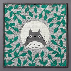 Totoro mini quilt by Jessee Maloney. Studio Ghibli themed craft swap. Studio Ghibli is a Japanese animation studio. Totoro is a mythical forest sprite.