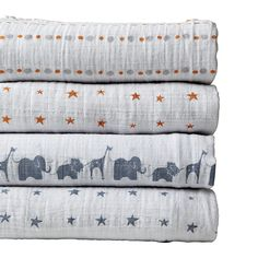 Aden + Anais Set of 4 Swaddle Blankets - Slate | Serena & Lily