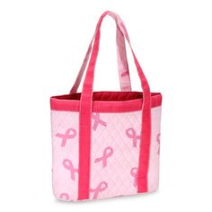 Quilted Cotton Tote Bag - Breast Cancer Awareness Print