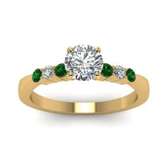 Simple Diamond Preset Engagement Rings with Green Emerald in 14K Yellow Gold exclusively styled by Fascinating Diamonds