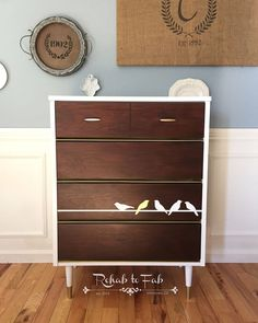 """GF Java Stained """"Birds on a Wire"""" Dresser 
