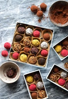 date truffles in colourful coatings.