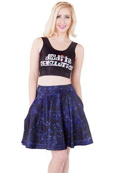 Constellation Pocket Skater Skirt