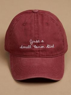 Altar'd State Small Town Girl Canvas Baseball Cap - Hats - Accessories Baseball Cap Outfit, Girl Baseball Cap, Cute Baseball Hats, Fsu Baseball, Baseball Field, Cute Caps, Hat Embroidery, Small Town Girl, Embroidered Hats