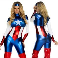 Captain America Costume Superhero Catsuit Fancy Dress Halloween Women Cosplay | eBay