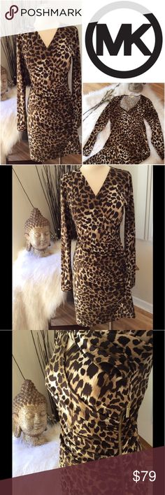MICHAEL KORS Leopard Print Dress Sexy little leopard number with side ruching and branded zipper.  Live a little in this feminine classic cut with animal print! See photos for measurements. Michael Kors Dresses High Low
