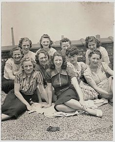 Old Photo Group of Women on the Roof 1940s by girlcatdesign, $7.00